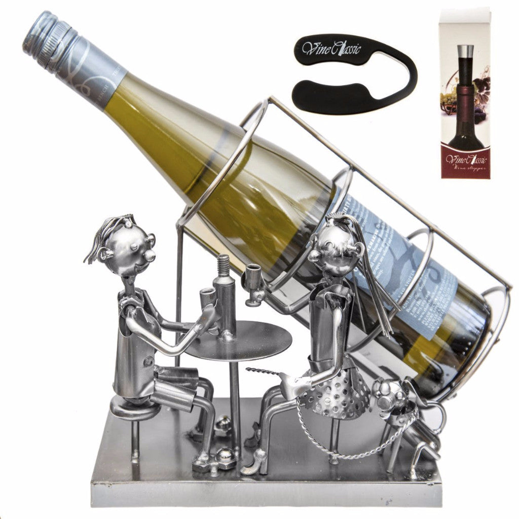Fabulous Couple Drinking Motif Tabletop Metal Wine Holder – Wine Stopper and Foil Cutter Included