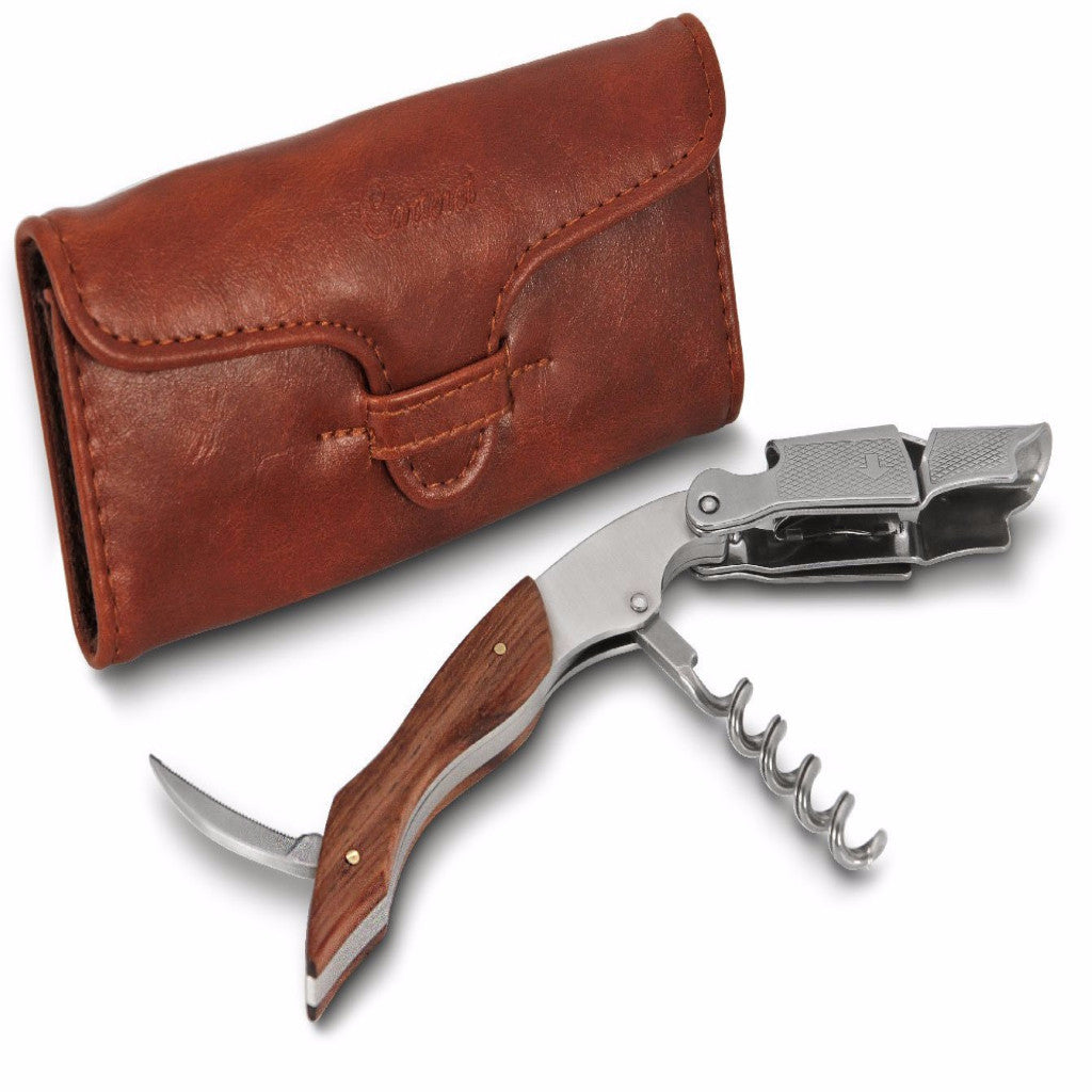 CARTERET COLLECTIONS STEEL WAITER'S CORKSCREW – DOUBLE LEVER, CARRY CASE
