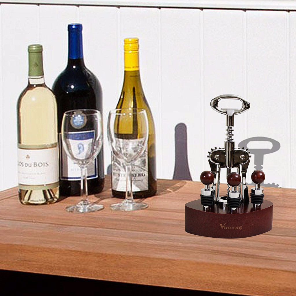 Vincori™ Buttefly Wing Corkscrew Wine Opener Set – with Three Wine Stoppers, Wood Base Stand, and Flip-cover Gift Box