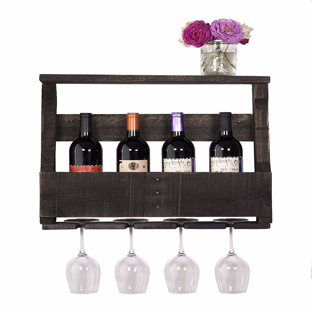 DAKOTA LOVE RECLAIMED DARKWOOD BAR – INVERTED WINE RACK, SHELF, AND WINE GLASS HOLDER, HANDMADE