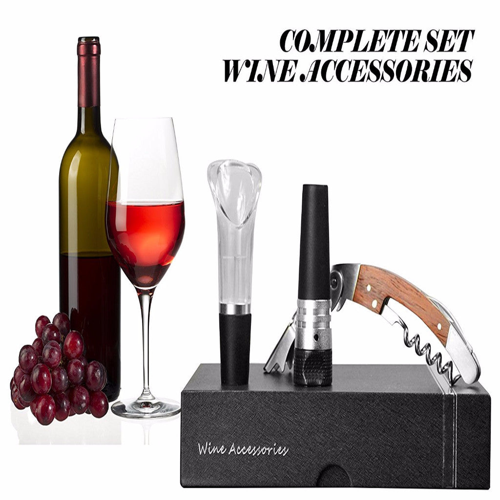 Sommelier Wine Gift Set Complete Wine Accessories Kit with Black Box