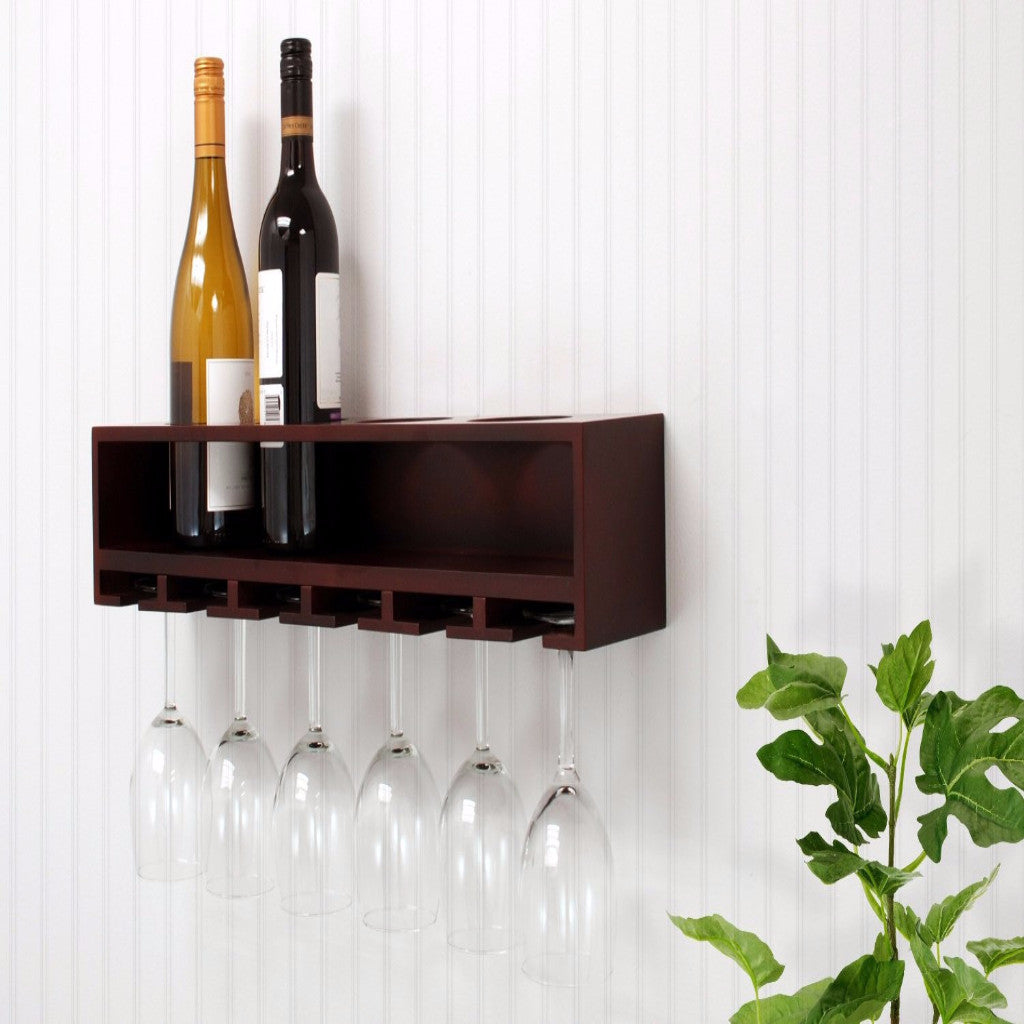 Nexxt Claret Wine Rack and Stemware Holder – Wall Mounted, Espresso
