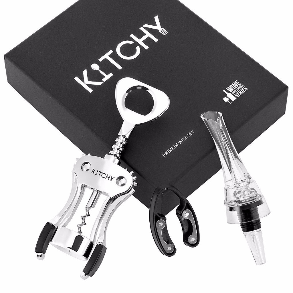 Wing Corkscrew Wine Opener Gift Set - Includes Aerator, Pourer, Decanter and Foil Cutter