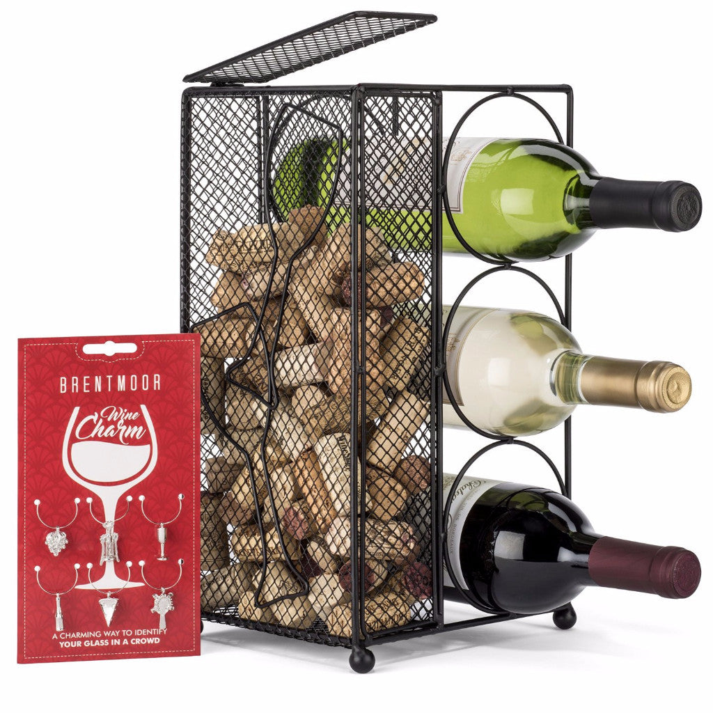 Brentmoor Wine Rack And Cork Holder – Holds 3 bottles, Quirky Wine Charms Included