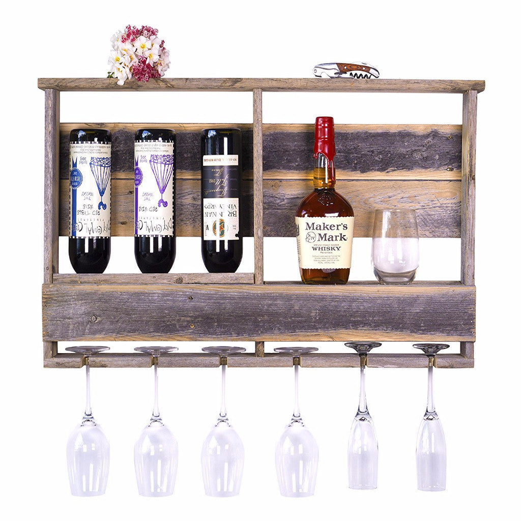 DAKOTA LOVE RECLAIMED WOOD BARNWOOD BAR – INVERTED WINE RACK, SHELF, AND WINE GLASS HOLDER, HANDMADE