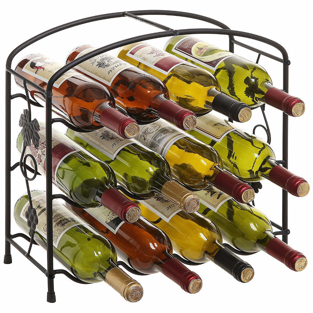Modern Grapevine Design Wine Rack 3-Tier 12-Bottle