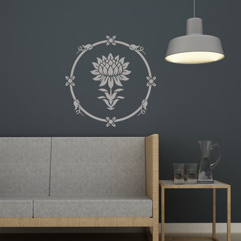 Water Lily Round Stencil for easy DIY Home Improvement Reusable Wall Decor