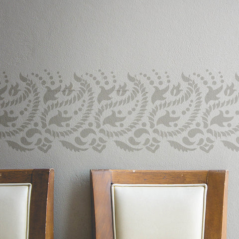 Indian Paisley Wall Border Stencil for DIY decor