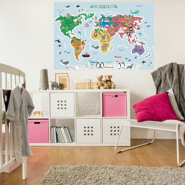 The Map of the World Fabric Sticker, Peel and Stick Removable World Wall Decal