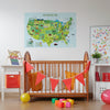 Map of United States Fabric Sticker, Peel and Stick Removable USA Wall Decal