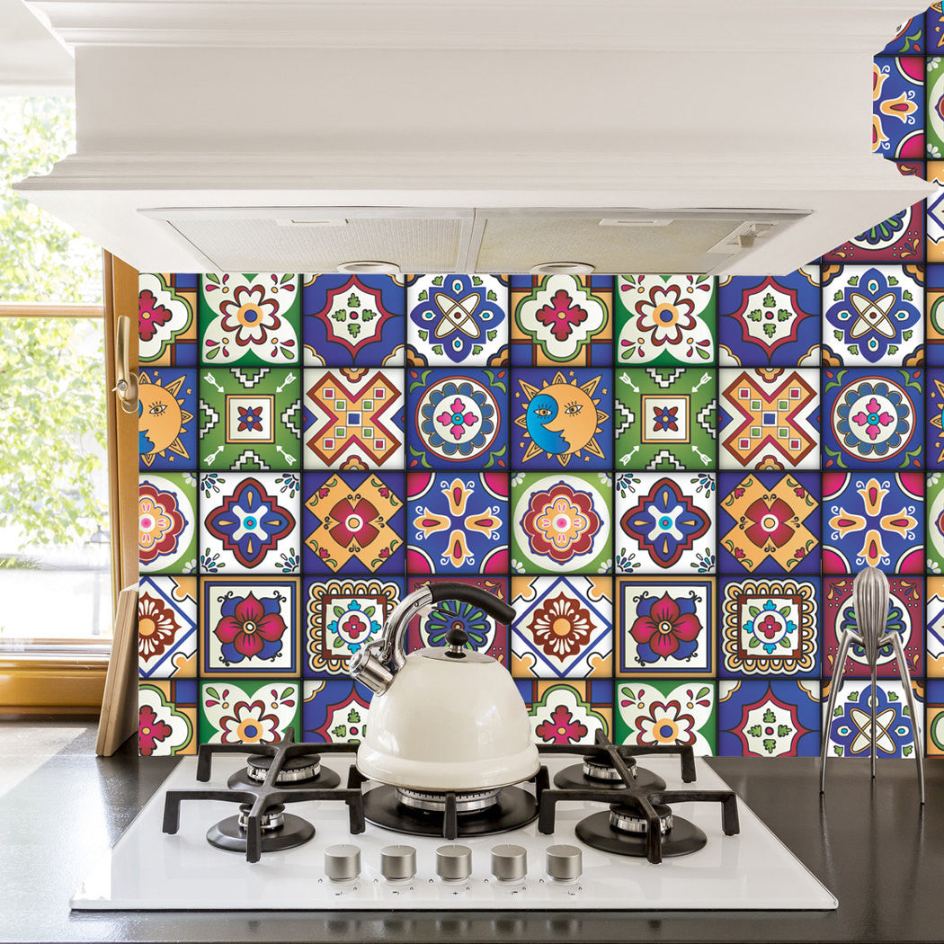 Kitchen Tiles Stickers mexican tiles stickers - set of 16 tiles - tile decals art for