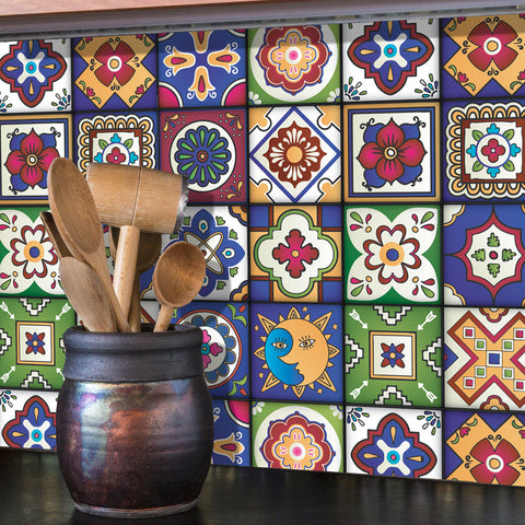 Mexican Tiles Stickers - Set of 16 tiles - Tile Decals Art for Walls Kitchen backsplash Bathroom