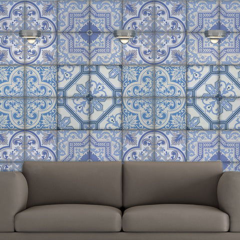 Moroccan Bule Tiles Stickers Ameur - Pack of 16 tiles - Tile Decals Art for Walls Kitchen backsplash Bathroom