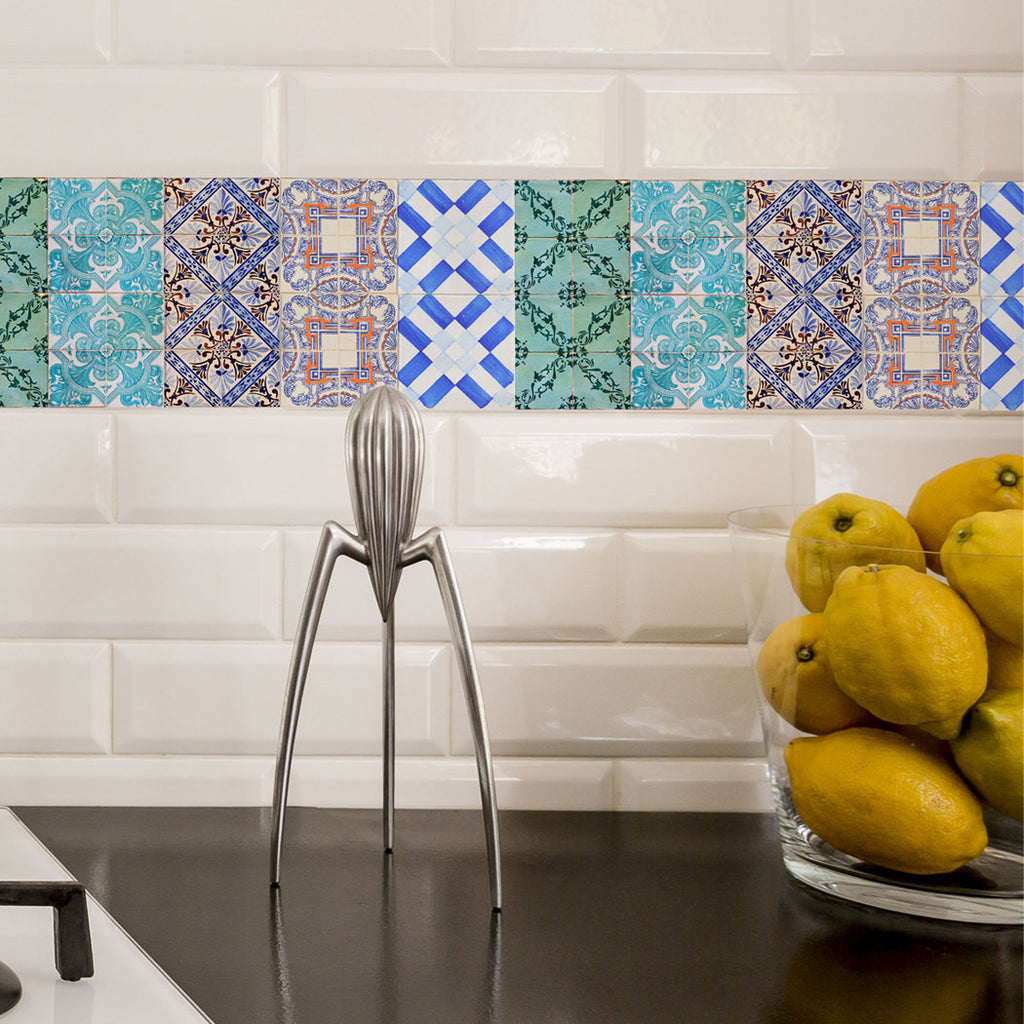Portuguese Tiles Stickers Maceira   Pack Of 16 Tiles   Tile Decals Art For  Walls Kitchen Backsplash Bathroom Part 82
