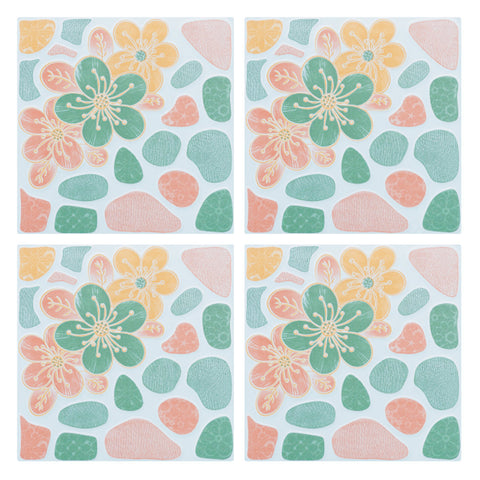 Decorative Tiles Stickers Flower Design - Set of 4 tiles - Tile Decals Art for Walls Kitchen backsplash Bathroom Accent Kitchen