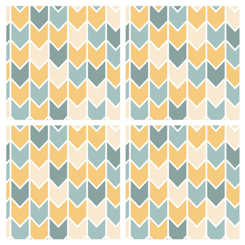 Decorative Tiles Stickers Chevron Pattern - Set of 4 tiles - Tile Decals Art for Walls Kitchen backsplash Bathroom Accent Kitchen