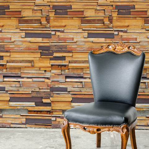 Wood Plank Brown texture Mitragyna Self adhesive Peel & Stick Repositionable Fabric Wallpaper