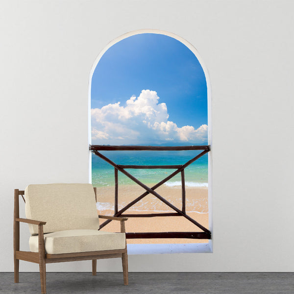 Arch balcony 3D Wall Mural Huge size - Clear sky above the ocean - Removable Peel and stick Fabric Decal