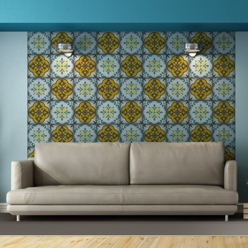 Moroccan Tiles Stickers - Set of 4 tiles - Tile Decals Art for Walls ...