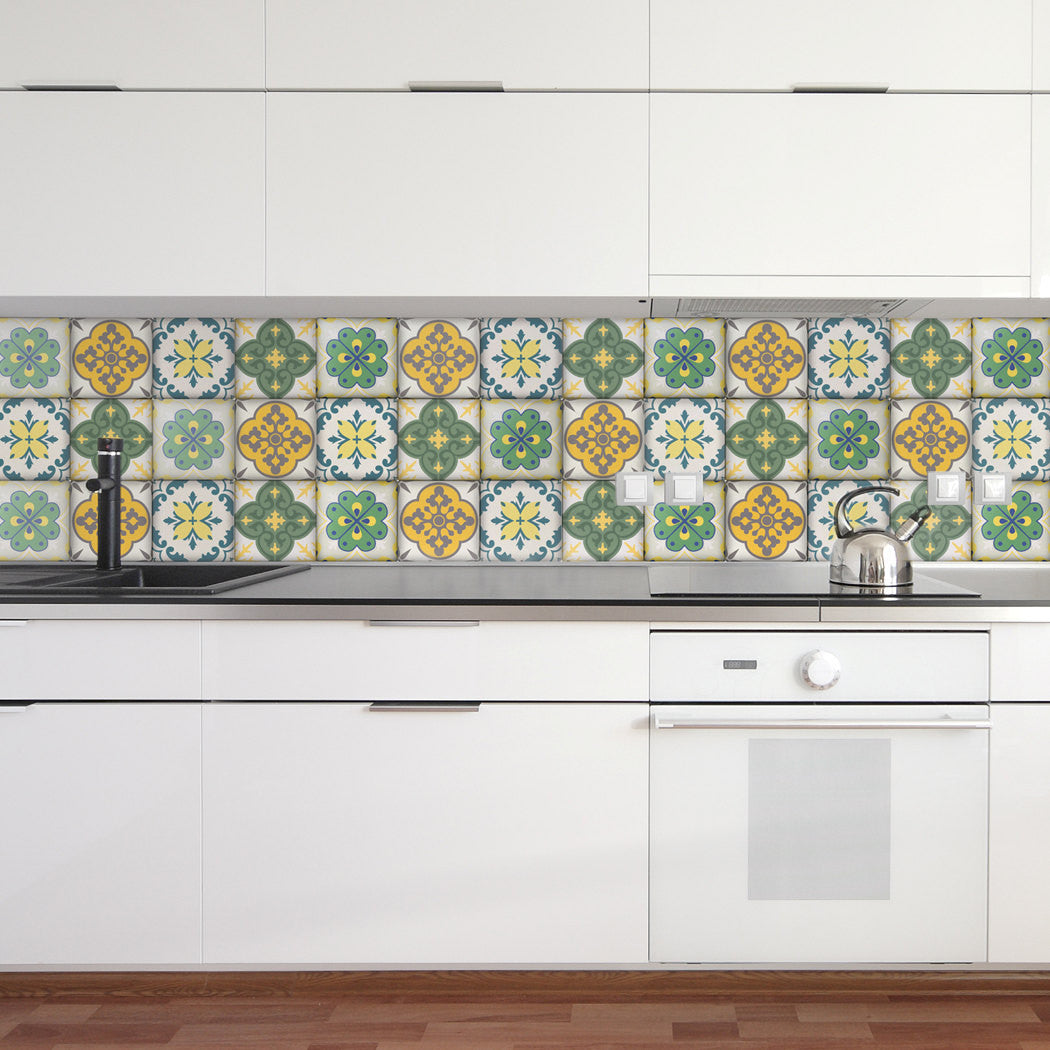 - Moroccan Tiles Stickers - Set Of 4 Tiles - Tile Decals Art For