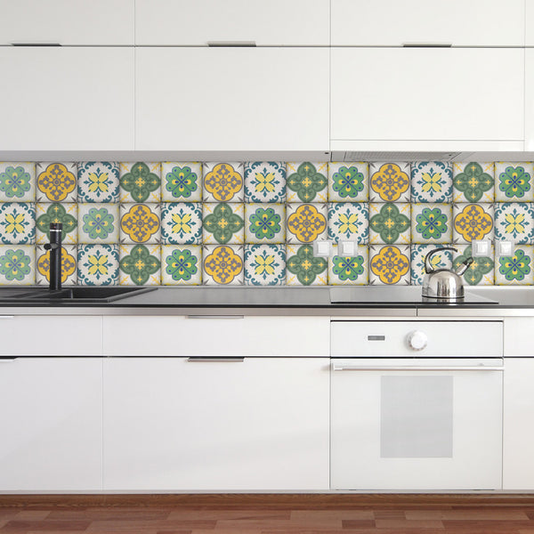 Moroccan Tiles Stickers - Set of 4 tiles - Tile Decals Art for Walls Kitchen backsplash Bathroom Accent Kitchen