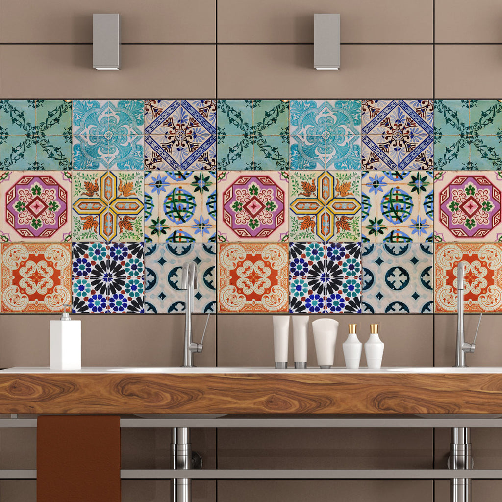 Portuguese Tiles Stickers Maceira   Pack Of 16 Tiles   Tile Decals Art For  Walls Kitchen Backsplash Bathroom Part 19