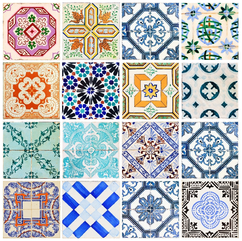 Portuguese Tiles Stickers Maceira   Pack Of 16 Tiles   Tile Decals Art For  Walls Kitchen Backsplash Bathroom Part 86