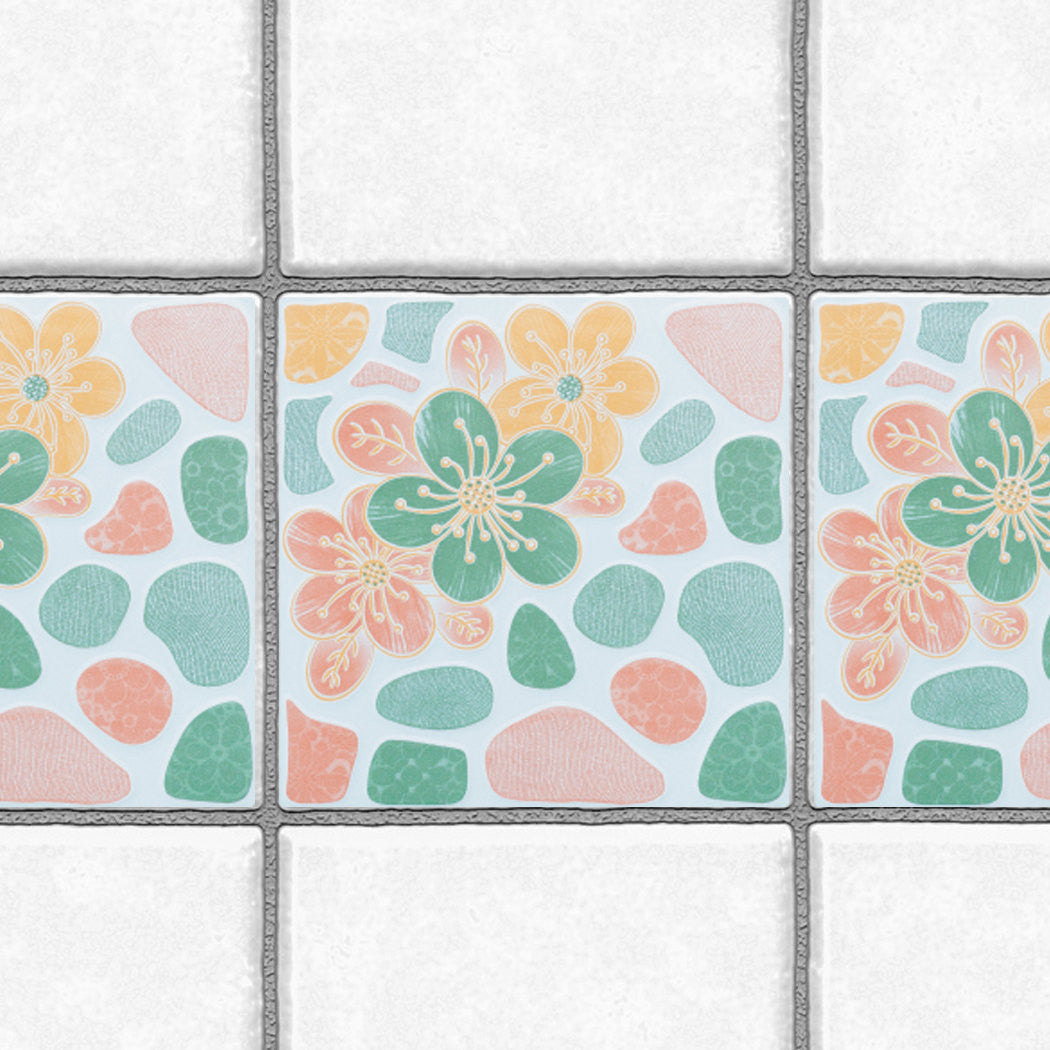 Decorative Tiles Stickers Flower Design - Set of 4 tiles - Tile ...