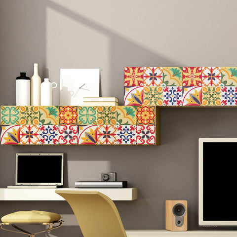 Italian Tiles Stickers - Pack of 9 tiles - Tile Decals Art for Walls Kitchen backsplash Bathroom
