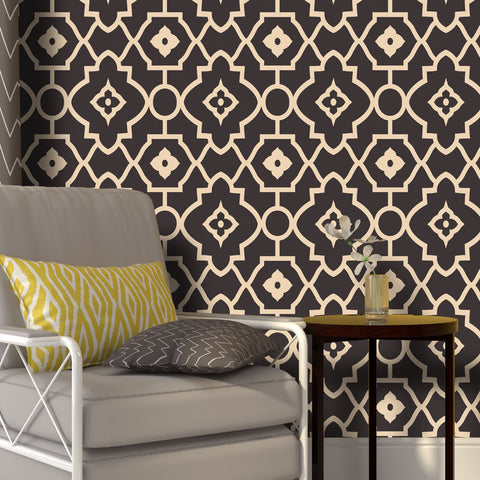 Moroccan Ecole 01 Peel & Stick Repositionable Fabric Wallpaper