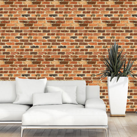 Old Red Brick Wall Pattern 01 Peel & Stick Repositionable Fabric Wallpaper