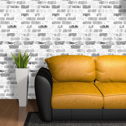 Old White Brick Wall Pattern 02 Peel & Stick Repositionable Fabric Wallpaper
