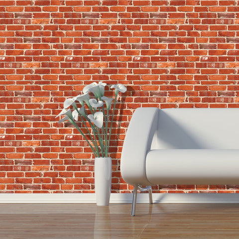 Red Brick Seamless pattern 01 Peel & Stick Repositionable Fabric Wallpaper
