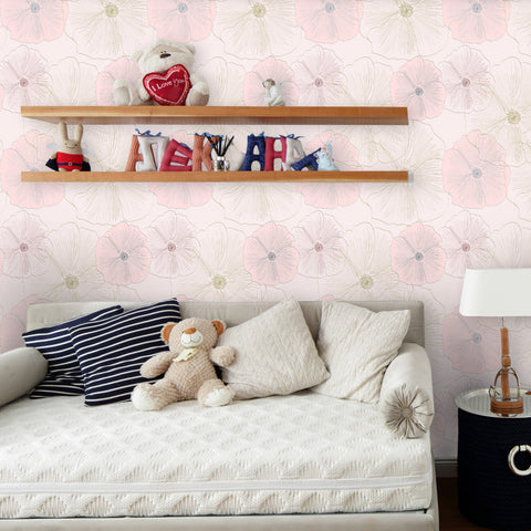 Flower Pattern 01 Peel & Stick Repositionable Fabric Wallpaper