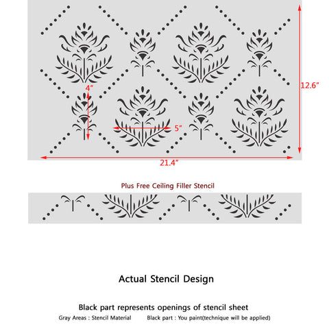 Modern Allover Trellis Wall Damask Stencil Aurora for Wallpaper Look