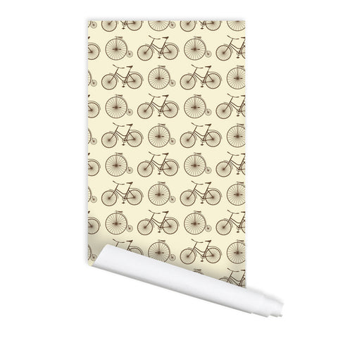 Retro Bicycle Pattern Self adhesive Peel & Stick Repositionable Fabric Wallpaper