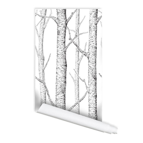 Birch Forest Self adhesive Peel & Stick Repositionable Fabric Wallpaper