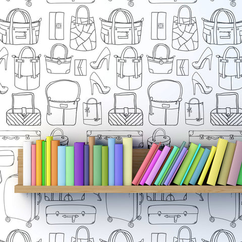 Accessories Pattern Self adhesive Peel & Stick Repositionable Fabric Wallpaper