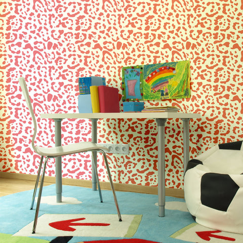 Leopard Pattern Self adhesive Peel & Stick Repositionable Fabric Wallpaper