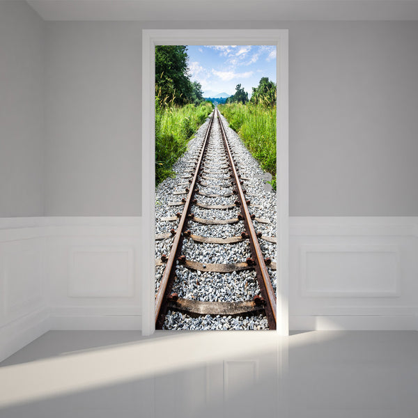 "Door Wall Sticker Railway Tracks - Self Adhesive Peel & Stick Repositionable Fabric Mural 31""w x 79""h (80 x 200cm)"