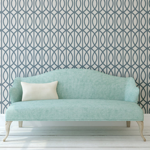 Trellis Pattern Vito Self Adhesive Peel & Stick Repositionable Fabric Wallpaper