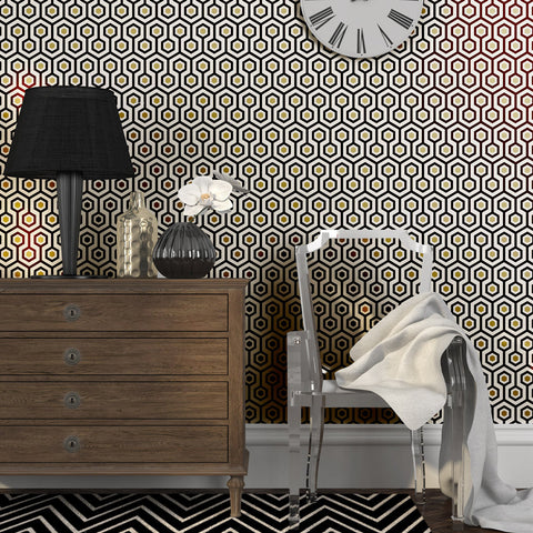 Geometric Hexagonal Pattern Mamie Peel & Stick Repositionable Fabric Wallpaper