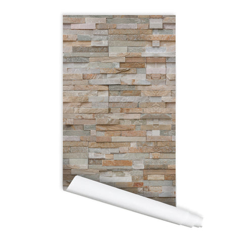 Modern style Brick Pattern Indira Self adhesive Peel & Stick Repositionable Fabric Wallpaper