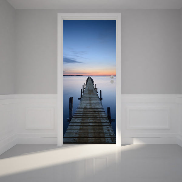 "Door Wall Sticker on a Bridge Pier - Peel & Stick Repositionable Fabric Mural 31""w x 79""h (80 x 200cm)"