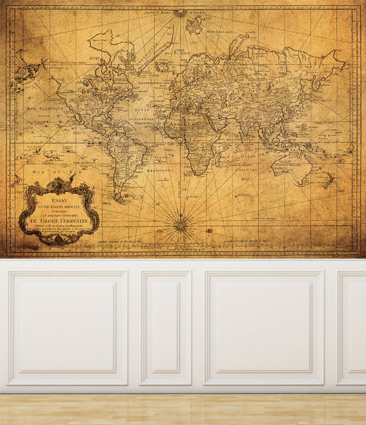 Wall Mural Vintage Map of the World, Peel and Stick Repositionable Fabric Wallpaper for Interior Home Decor