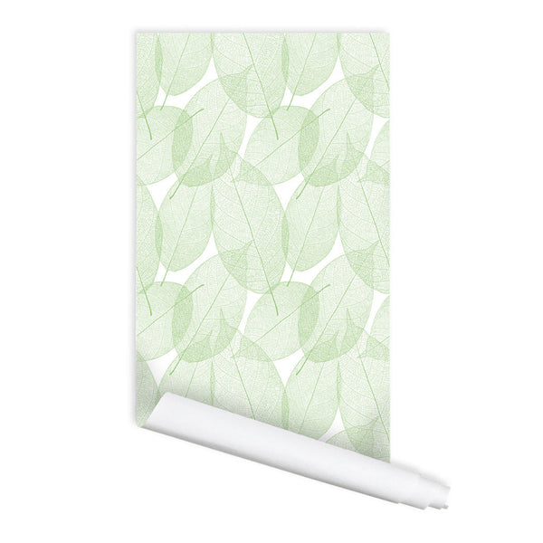 Leaf Pattern Sora Self adhesive Peel & Stick Repositionable Fabric Wallpaper