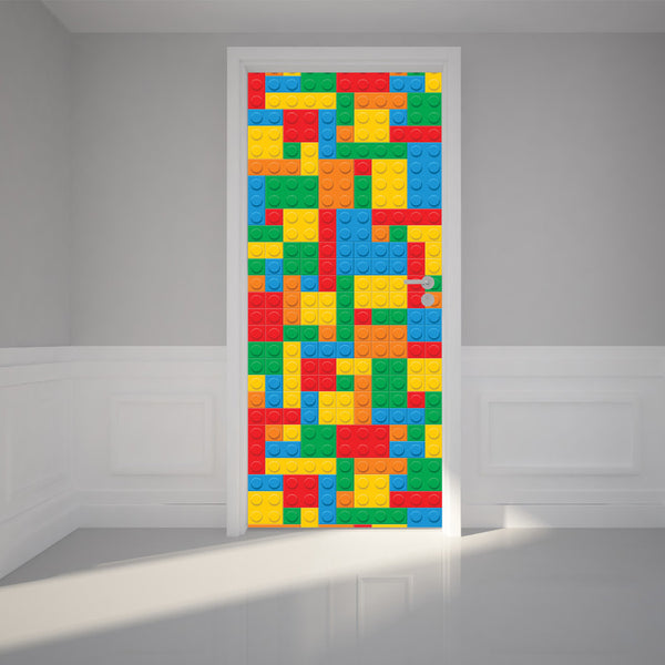 "Door Wall Sticker Building Blocks - Peel & Stick Repositionable Fabric Mural 31""w x 79""h (80 x 200cm)"