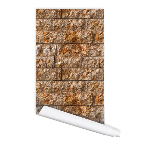 Rectangle Stone Pattern Toulon Self adhesive Peel & Stick Repositionable Fabric Wallpaper