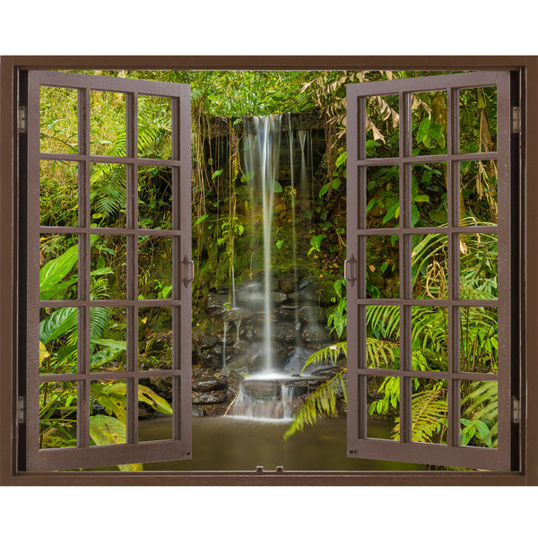 Window Frame Mural Waterfall in the forest - Huge size - Peel and Stick Fabric Illusion 3D Wall Decal Photo Sticker