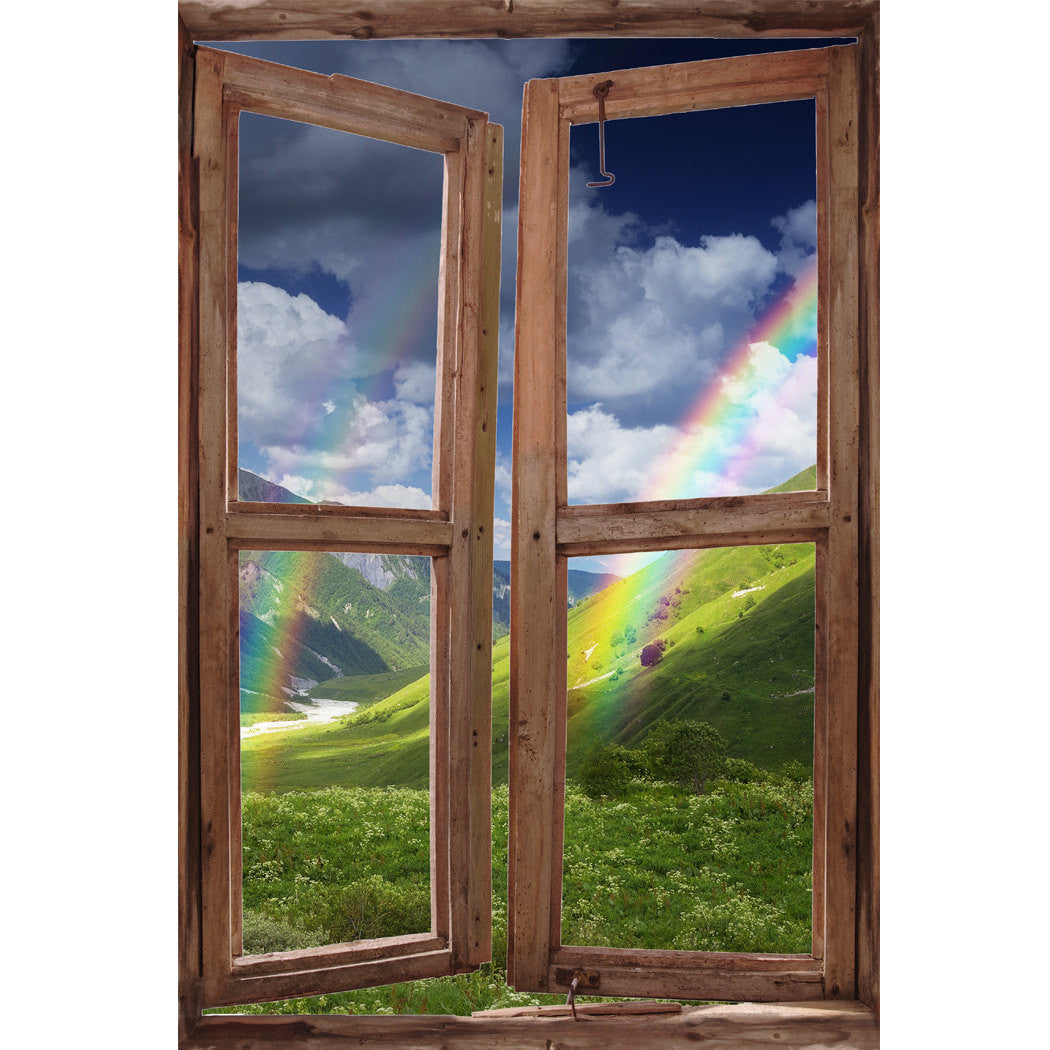 Window Wall Mural Rainbow In The Mountains Peel And Stick Fabric